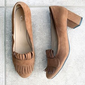 CL Laundry Chocolate Brown Faux Suede Heels